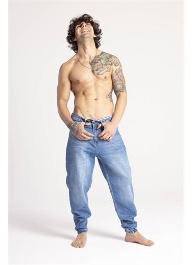 XHAN Mavi Jogger Kot Pantolon  Mavi